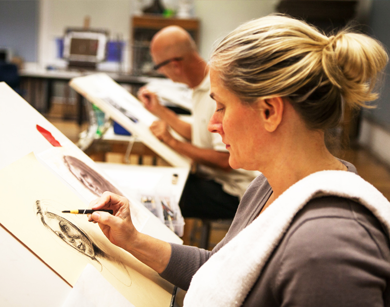 Portrait drawing class at Brookline Adult Education