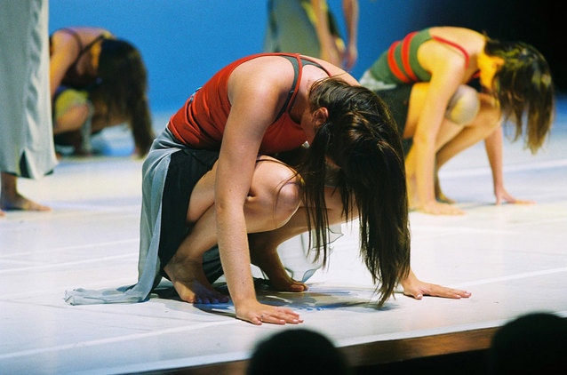 kneeling dancers at a class at brookline adult & community education