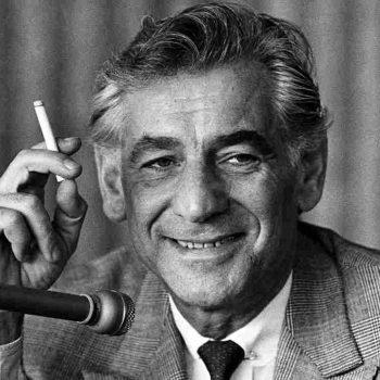 Leonard Bernstein smoking a cigarette